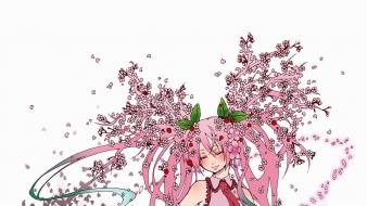 Miku sakura pink hair closed eyes aqua Wallpaper