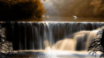 Nature autumn (season) waterfalls background birds wallpaper