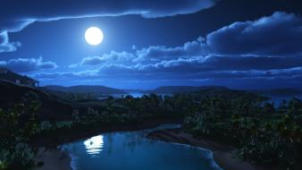 Nature night moon 3d art skies Wallpaper