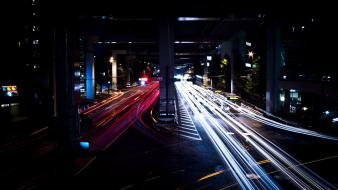 Night cars traffic city lights long exposure wallpaper