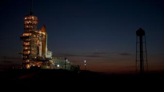 Night launch pad rocket cosmodrome wallpaper