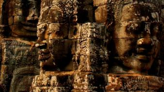 Ruins rock buddha cambodia statues angkor wat faces wallpaper