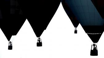 Silhouette hot air balloons white background Wallpaper