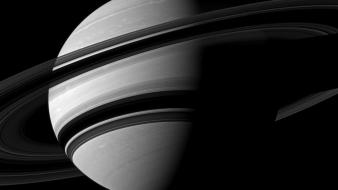 Space planets nasa rings shadows saturn monochrome wallpaper