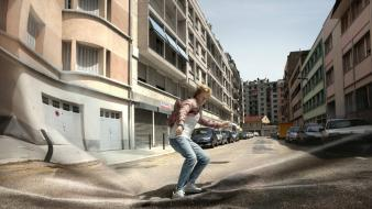 Streets cars surrealism surreal unreal photomanipulation impossible wallpaper