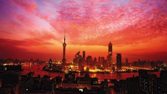 Sunset cityscapes china skyscrapers shanghai evening cities wallpaper