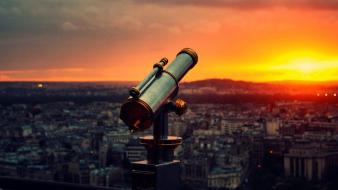 Sunset cityscapes telescope cities Wallpaper