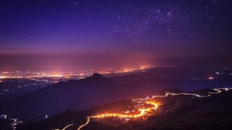 Sunset mountains dawn stars roads cities night sky Wallpaper