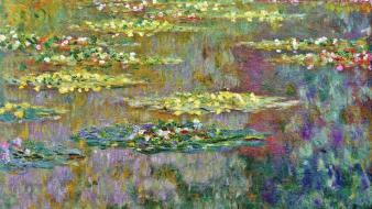 Traditional art reflections claude monet vegetation impressionism wallpaper