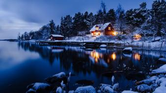 Winter snow trees sweden houses stockholm lakes reflections wallpaper