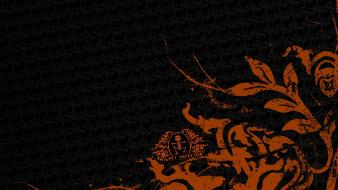 Abstract black artistic orange patterns wallpaper