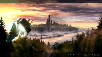 Aircraft trees science fiction cities Wallpaper