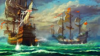 Artwork drawings sail ship sea battle haryarti wallpaper