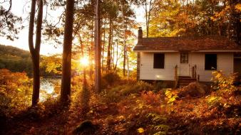 Autumn (season) white forest cottage wallpaper
