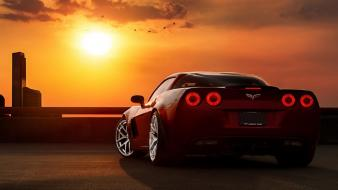 Chevrolet corvette red cars z06 cities taillights Wallpaper