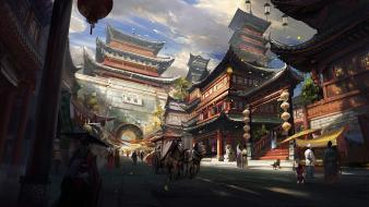 Church asia oriental artwork vehicles arch birds wallpaper