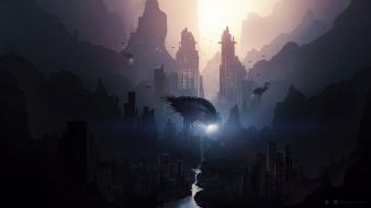 Cityscapes digital art science fiction desktopography cities wallpaper