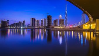 Cityscapes night dubai wallpaper
