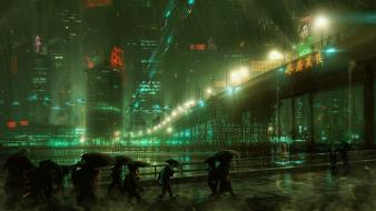 Cityscapes rain futuristic electric artwork wallpaper