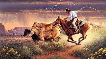 Cowboys horses artwork wallpaper