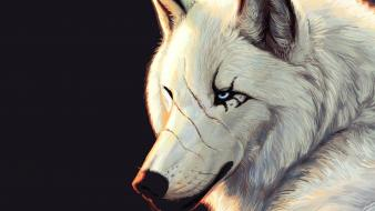 Eyes animals hate artwork white wolf wolves wallpaper