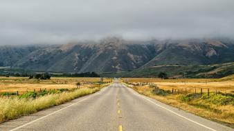 Fields hills fog mist usa california roads wallpaper