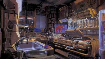 Futuristic kitchen artwork syd mead Wallpaper