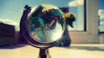 Glass window globe spring wallpaper