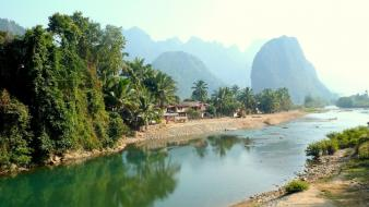 Landscapes nature asia palm trees huts laos tropics wallpaper