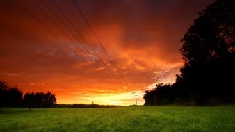 Landscapes nature evening wires sky wallpaper