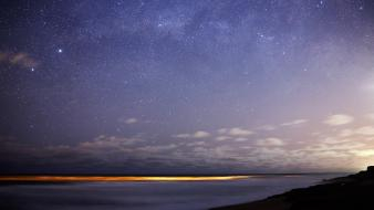 Landscapes nature horizon night stars sky sea wallpaper
