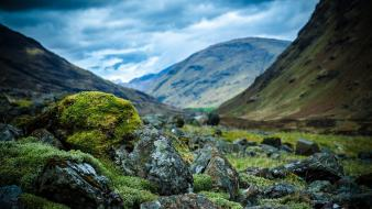 Mountains clouds landscapes nature stones scotland moss wallpaper