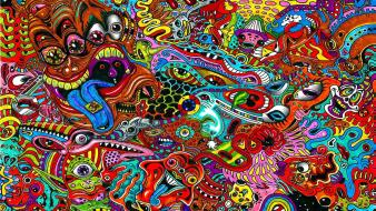 Multicolor mess psychedelic artwork acid wallpaper
