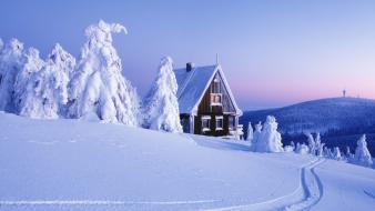 Nature snow houses landscapes wallpaper