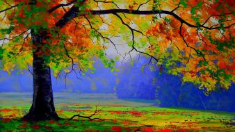 Paintings landscapes trees autumn (season) drawings Wallpaper