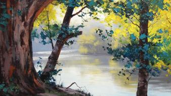 Paintings landscapes trees drawings lakes wallpaper