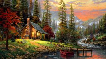 Paintings landscapes trees drawings Wallpaper