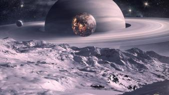 Planets moon saturn digital art science fiction wallpaper