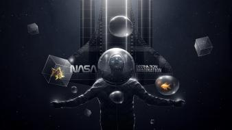 Spaceships imagination cubes particles felix baumgartner spacesuit wallpaper