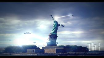 Statue of liberty ufo ufo, wallpaper