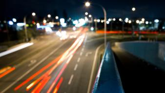 Streets night cars bokeh city lights wallpaper