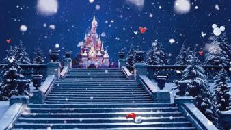 Winter snow castles trees shoes stairways wallpaper