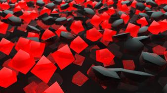 Abstract black red cubes wallpaper
