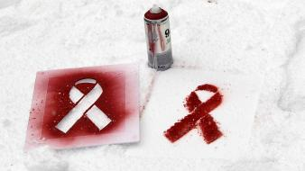 Aids diseases red ribbon stand alone wallpaper