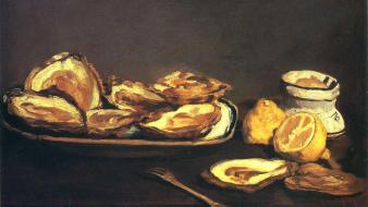 Artwork french lemons manet still life impressionism wallpaper