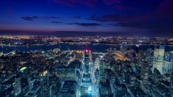 Cityscapes new york city lights empire state building Wallpaper