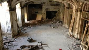 Cityscapes piano room urban theatre abandoned wallpaper