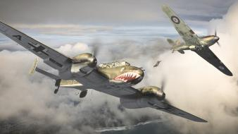 Clouds aircraft world war ii falling jump wallpaper