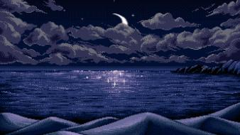 Clouds night moon pixel art lakes wallpaper