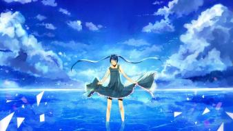 Miku long hair twintails paper plane skies wallpaper